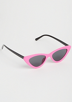 Neon Pink Micro Cat Eye Sunglasses