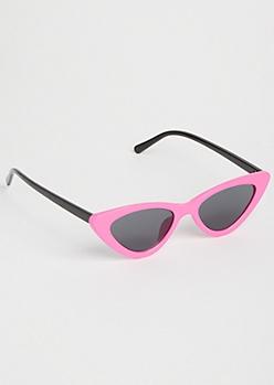 Neon Pink Micro Cat Eye Sunglasses