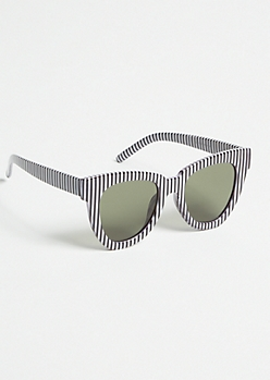 Black Striped Oversized Cat Eye Sunglasses