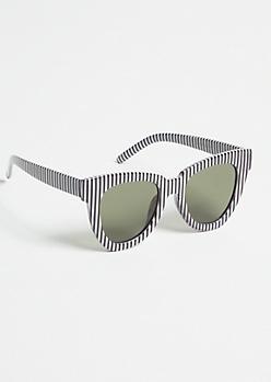 Black Striped Cat Eye Sunglasses