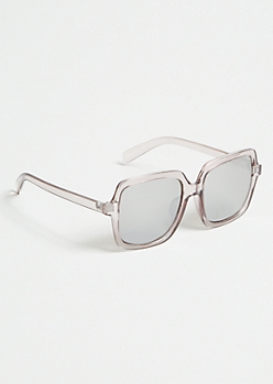 Clear Taupe Square Mirrored Sunglasses