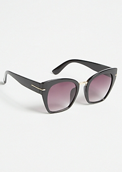 Black Studded Oversized Cat Eye Sunglasses