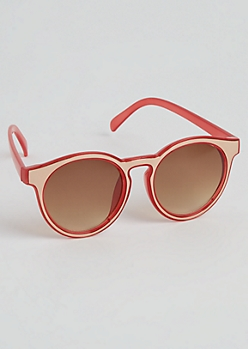 Rose Gold Front Red Sunglasses