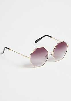 Gold Geometric Skinny Sunglasses