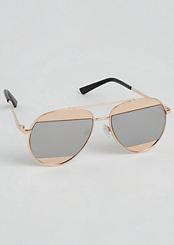 Rose Gold Split Lens Aviator Sunglasses