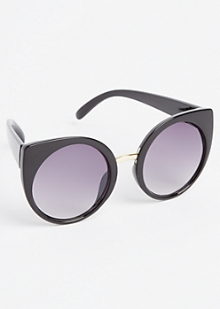 Black Round Lens Cat Eye Sunglasses
