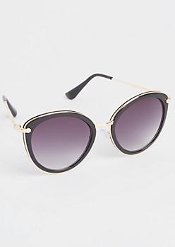 Black Metal Inlay Cat Eye Sunglasses