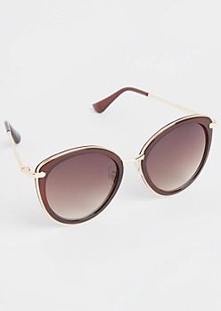 Brown Metal Inlay Cat Eye Sunglasses