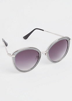 Gray Glitter Cat Eye Sunglasses