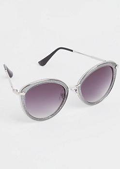 Gray Glitter Cat Eye Sunglasses
