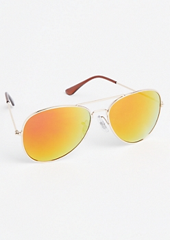 Iridescent Lens Aviator Sunglasses