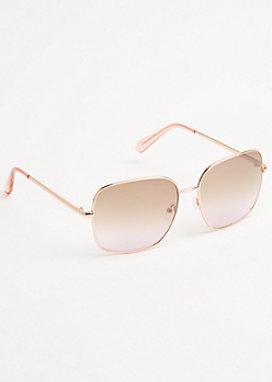 Rose Gold Metal Frame Square Sunglasses