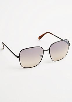 Tortoiseshell Metal Frame Square Sunglasses