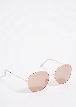 Rose Gold Mirror Round Sunglasses