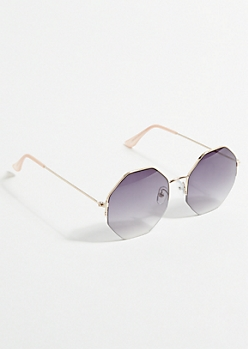 Black Ombre Geometric Sunglasses
