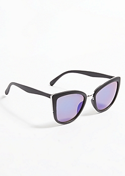 Black Cat Eye Purple Lens Sunglasses