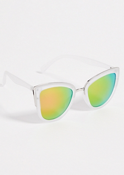 Clear Cat Eye Mirrored Lens Sunglasses