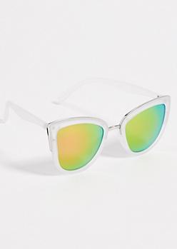 Clear Cat Eye Mirrored Lens Sunglasses