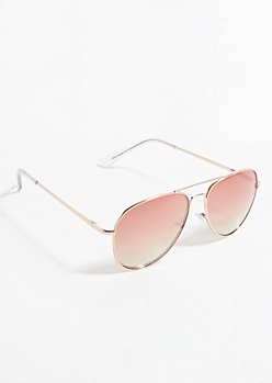 Gold Metal Ombre Lens Aviator Sunglasses
