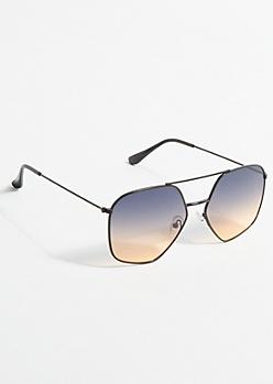 Brown Ombre Geo Frame Aviator Sunglasses