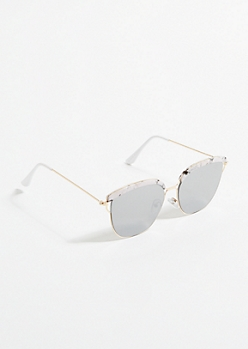 White Marble Top Mirror Lens Sunglasses