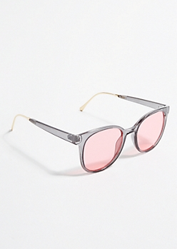 Gray Rose Lens Square Sunglasses