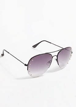 Black Studded Aviator Sunglasses