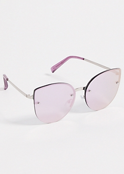 Purple Mirrored Oversized Cat Eye Sunglasses