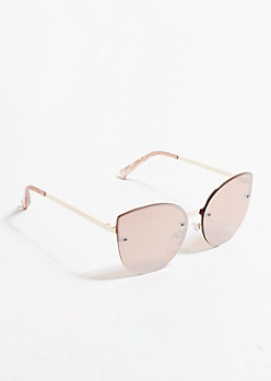 Rose Gold Mirrored Oversized Cat Eye Sunglasses