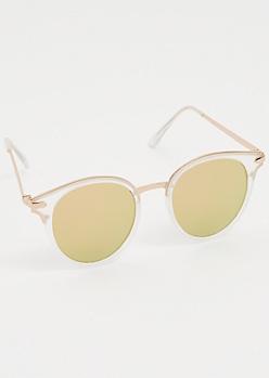 Clear Frame Mirrored Cat Eye Sunglasses