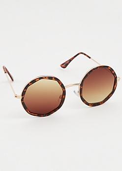 Rounded Tortoiseshell Frame & Gradient Lens Sunglasses