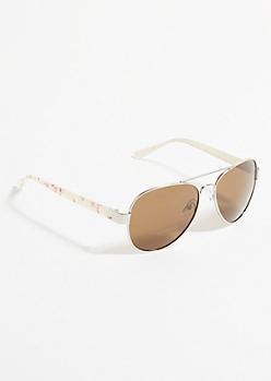White Floral Print Aviator Sunglasses
