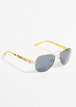 Yellow Floral Print Aviator Sunglasses