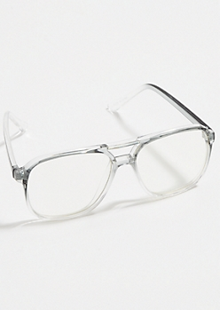 Gray Gradient Clean Lens Aviator Readers