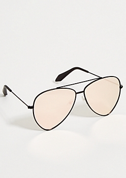 Black Triangle Pink Mirrored Aviator Sunglasses
