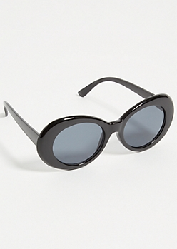 Black Retro Smoky Oval Sunglasses