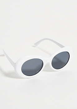 White Retro Smoky Oval Sunglasses