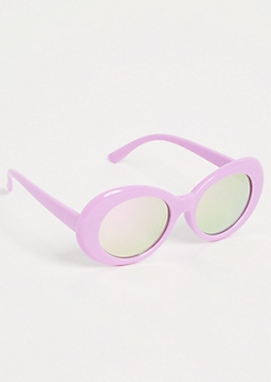 Purple Mirrored Retro Round Sunglasses
