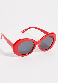 Red Mirrored Retro Round Sunglasses