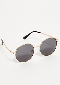 Gold Smoky Round Aviator Sunglasses