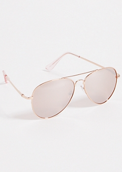 Rose Gold Mirrored Lens Aviator Sunglasses