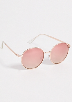Rose Gold Mirrored Lens Round Sunglasses