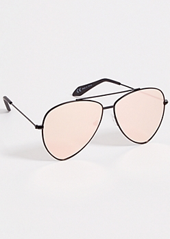 Pink Pointed Aviator Sunglasses