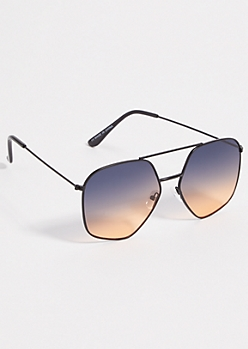 Black Geometric Ombre Aviator Sunglasses