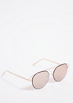 Rose Gold Mirror Brow Bar Aviator Sunglasses