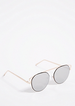 Black Mirrored Lens Brow Bar Aviator Sunglasses