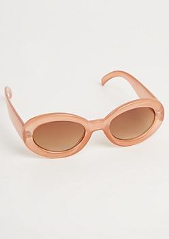Peach Oval Translucent Sunglasses