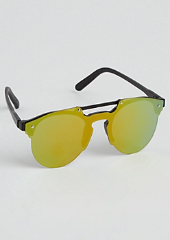 Full Coverage Mirrored Browbar Sunglasses