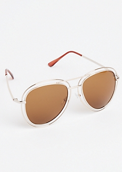 Brown Metal Rim Aviator Sunglasses