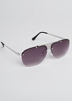 Metal Mesh Bridge Aviator Sunglasses